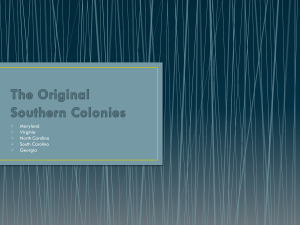 The Original Southern Colonies