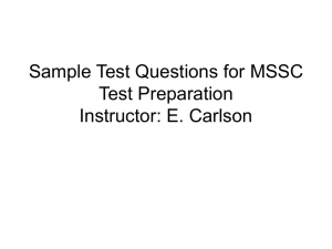 Sample MSSC Test Questions