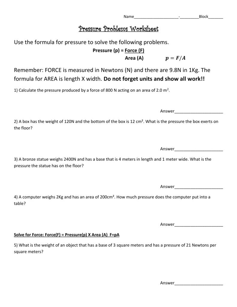 Pressure Problems Worksheet