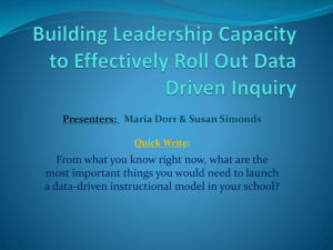 Building Leadership Capacity to Effectively Roll Out Data