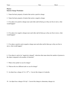 Electric charge worksheet