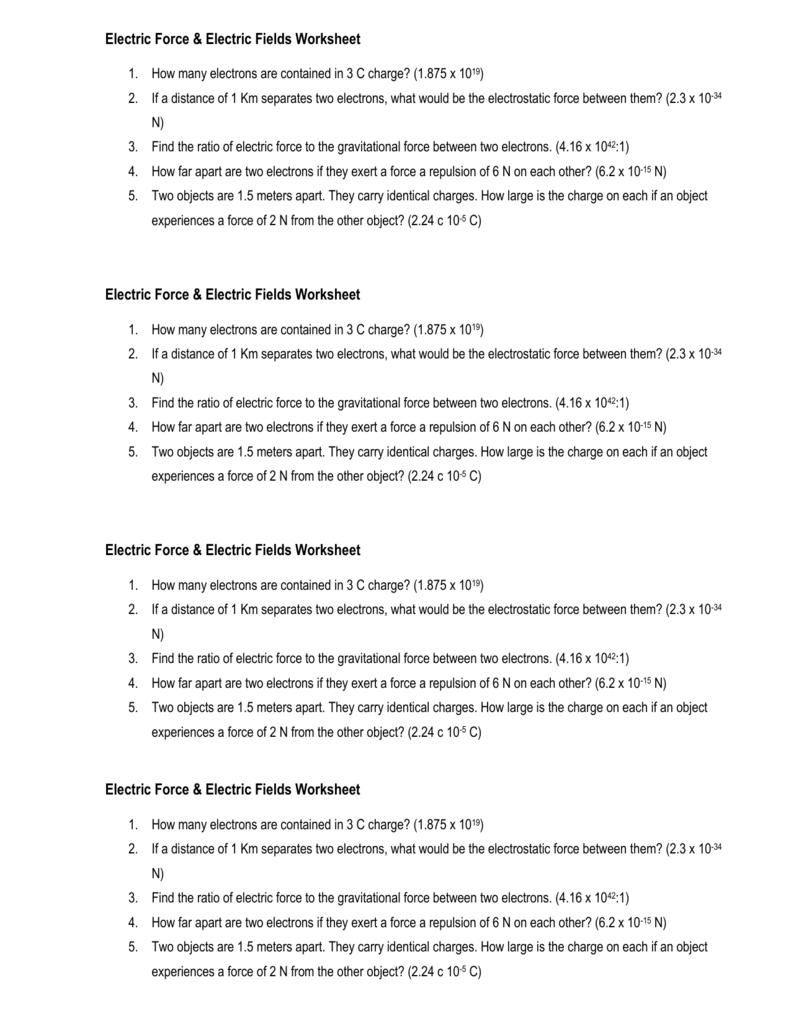 Electrostatics Worksheet - Worksheets for Education