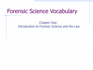 Forensic Science Vocabulary