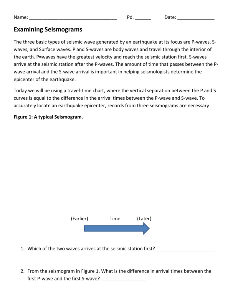 Uncategorized Earthquake P-wave And S-wave Travel Time Worksheet file