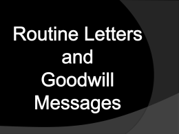 File - Routine Letters and Goodwill Messages