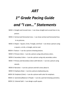 "ART 1 st Grade Pacing Guide and ""I can…"" Statements"