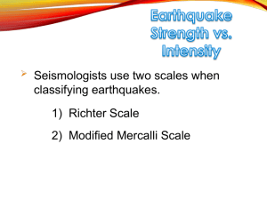 Earthquake Strength vs. Intensity