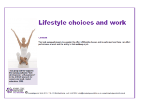 To understand how your lifestyle choices impact on your work What