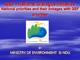 Linkages between GEF priorities and National Priorities