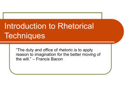 Introduction to Rhetorical Techniques
