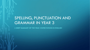 Spelling, punctuation and grammar in year 3