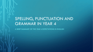 Spelling, punctuation and grammar in year 4