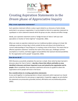Creating Aspirations Statements in the Dream Phase of Appreciative