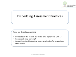 Embedding Assessment Practices