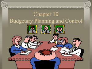I. An Overview of Budgeting