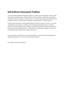 Self Defense Homework Problems