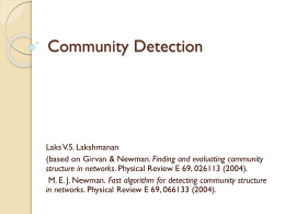Community Detection - UBC Department of Computer Science