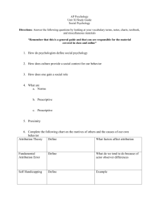 AP Psychology Unit XI Study Guide Social Psychology Directions