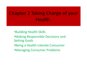 Chapter 2 Taking Charge of your Health.