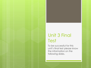 Unit 3 Final Test Study Guide
