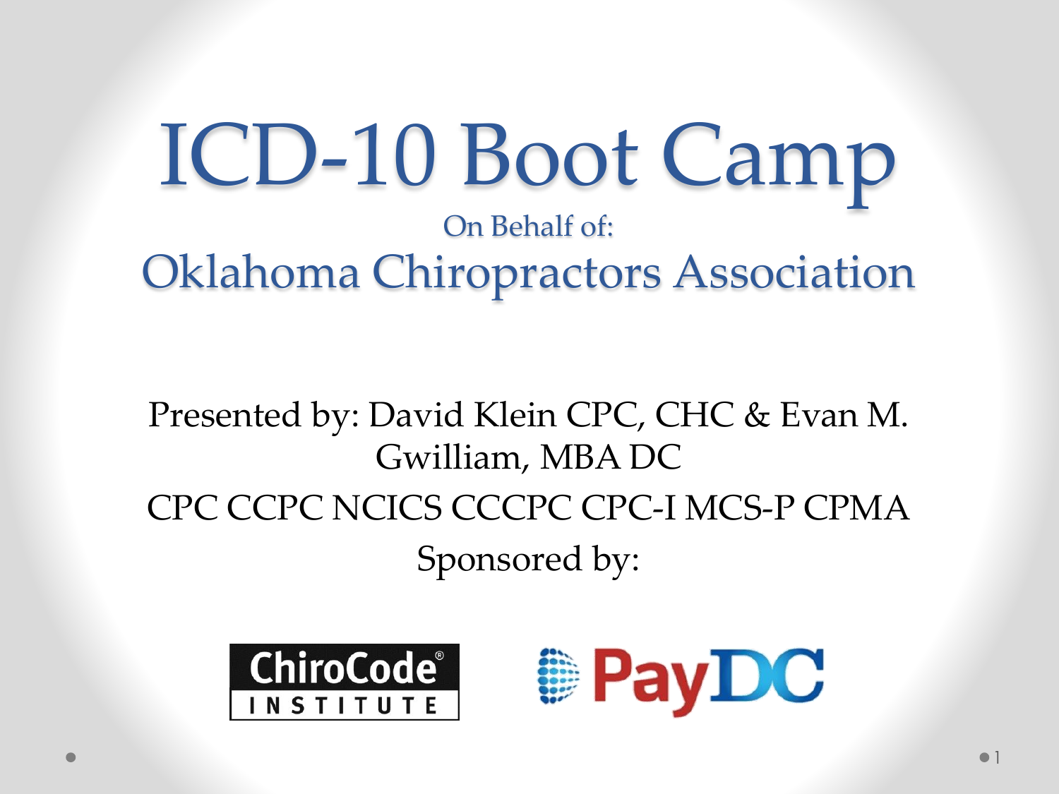 ICD-10 - Oklahoma Chiropractors' Association