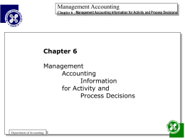 Management Accounting Information for Activity and Process