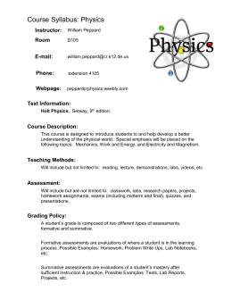 Conceptual Physics Goals and Policies