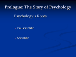 Prescientific Psychology