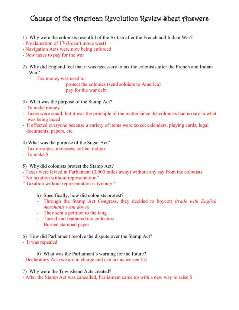 Worksheet Causes Of The American Revolution Worksheet Worksheet