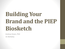Building Your Brand and the Biosketch