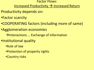 Factor Flows: Increased Productivity Increased Return