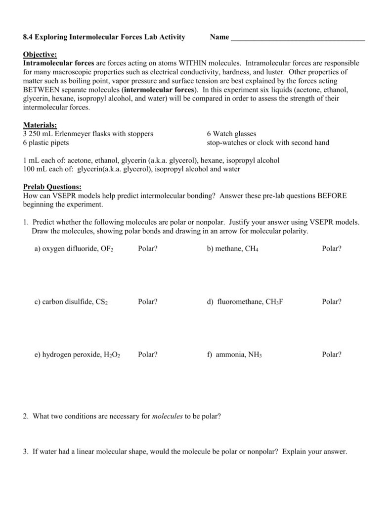 worksheet Polar And Nonpolar Molecules Worksheet doc islcs