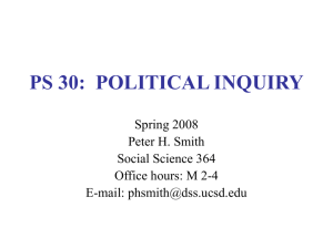 ps 30: political inquiry - Division of Social Sciences