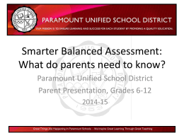 Smarter Balanced Assessment - Paramount Unified School District