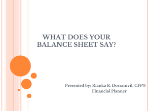 WHAT DOES YOUR BALANCE SHEET SAY?