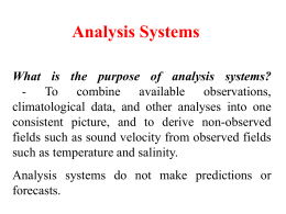 Analysis Systems - NPS Department of Oceanography