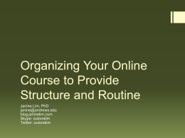 Organizing Your Online Course