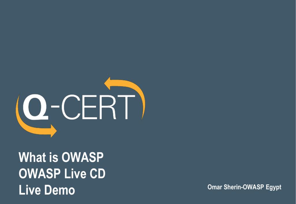 OWASP Live CD / WebGoat Live Demo
