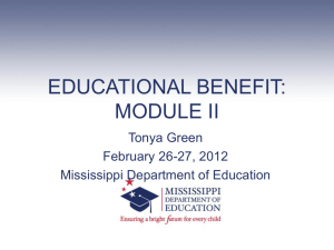 Educational Benefit: Module II - Mississippi Department of Education