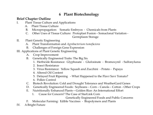 I. Plant Tissue Culture and Applications