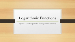 Logarithmic Functions PowerPoint