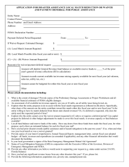 application for disaster assistance local match reduction or waiver