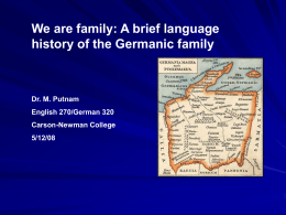 Powerpoint on History of Germanic Languages - Carson