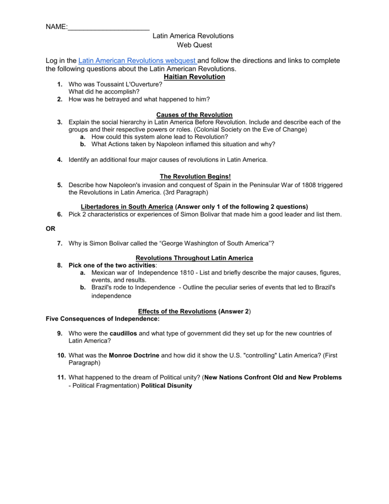 Latin american revolutions webquest worksheet robcynllc Image collections