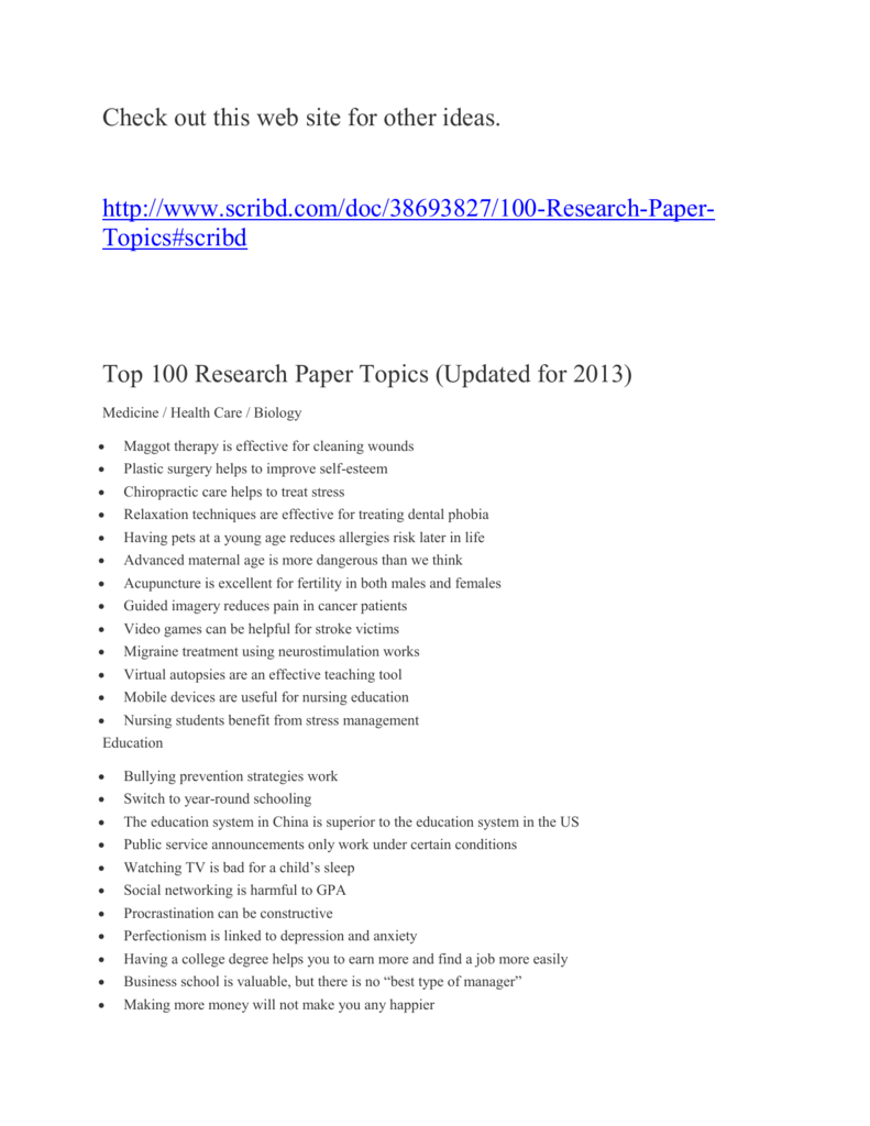 100 Topics For Research Papers