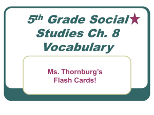 5th Grade Social Studies Ch. 8 Vocabulary