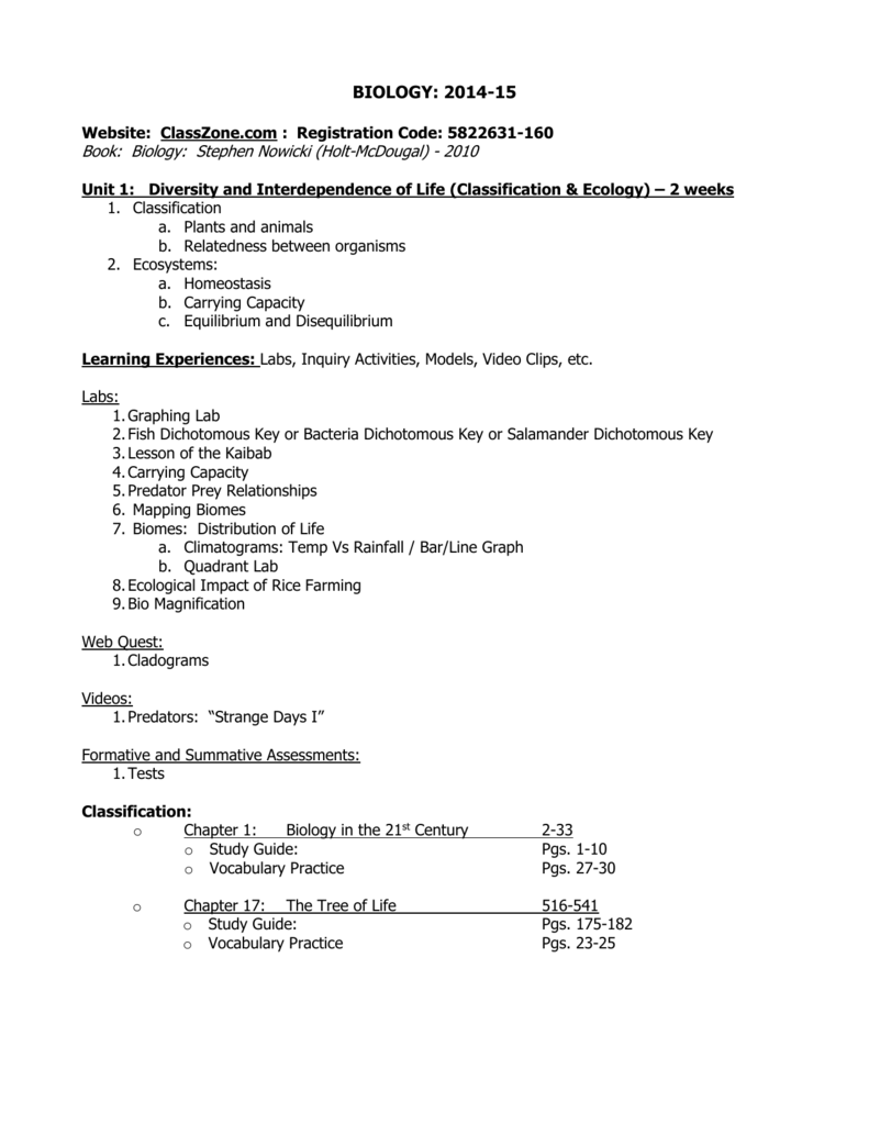 biology syllabus 2014 15 pz rh studylib net Cell Cycle Study Guide Stages of Mitosis Study Guide
