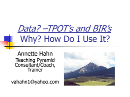 Teaching Pyramid Observation Tool (TPOT) Why and