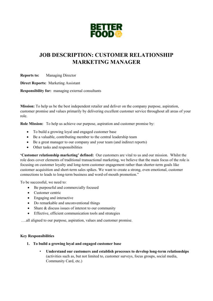 job description  customer relationship marketing manager