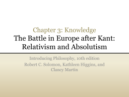 The Battle in Europe After Kant: Relativism and Absolutism